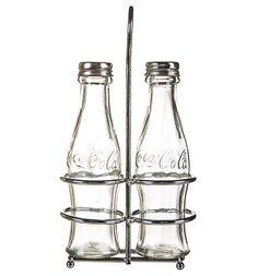 #Coca-Cola Glass Salt & Pepper #Set with Chrome Holder from #TruffleShuffle xoxo