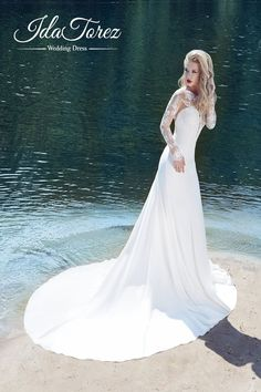 Modern Trumpet-Mermaid Illusion Natural Court Train Stretch Crepe Ivory/Dark Champagne Long Sleeve Open Back Wedding Dress Draped 01005#Cocomelody#weddingdress#bridalgown#