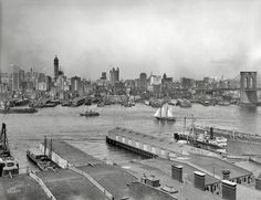 """Shorpy Historical Photo Archive ::  Manhattan circa 1907. """"The heart of New York from Brooklyn."""""""