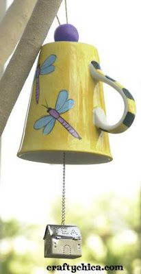 Tea Mug Wind Chime--I might adapt it...use enamelware for a more primitive look?
