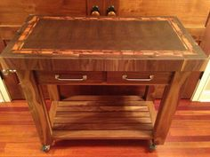 Beautiful Black Walnut End Grain Butcher Block Kitchen Cart with Tigerwood accent Frame, Wood Counter top, Cutting board
