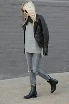 Gray sweater gray jeans black booties