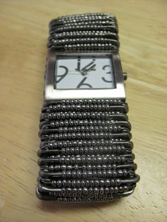 Trendy Pewter Safety Pin Seed Bead Watch by JustJewelsBoutique, $20.00