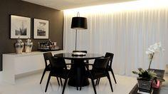 Salas de estar, jantar e tv integradas e decoradas de preto, branco e cinza - maravilhosas! - DecorSalteado