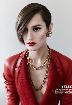Julie Budet is one of my style inspirations - I even cut my hair to resemble hers a year ago and I have yet to turn back. Loving the eyeliner and red lip in this shoot.