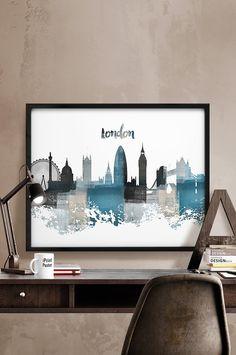 London print, London poster, London, England, British, United Kingdom, UK, city prints, wall art, home decor, travel poster, iPrintPoster