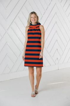 Cowl Neck Dress – Ginger Howard Selections Cowl Neck Dress, High Neck Dress, Varsity Sweater, Bonfire Night, Navy Stripes, Navy And White, Dresses For Work, Model, Outfits