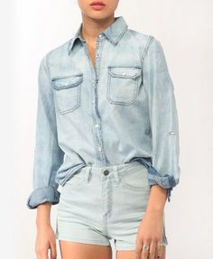 "Snap Button Denim ""chambray"" Shirt 