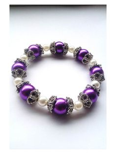Purple and Cream Acrylic Bead Stretch Bracelet, Encapsulated with Silver Plated Rough Edge Bead Caps - £12.00