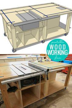 Garage Workbench Plans, Table Saw Workbench, Building A Workbench, Workbench Designs, Diy Workbench, Mobile Workbench, Router Table Plans, Diy Router Table, Garage Workshop Plans