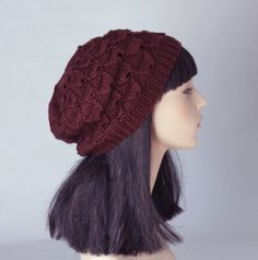 Slouch Hat Beanie Vine Brown Burgundy Marron Red Knited Chuncky Pattern. $36.00, via Etsy. Adorb I have one like this and it's awesome -jewels