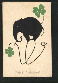 Elephant illustrations   Vintage postcard