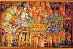 Kerala mural painting of Lord Vishnu.