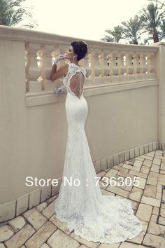 lh7862 White Sweetheart Neckline Slim Fit Sexy Spaghetti Straps Lace Beach Wedding Dresses 2014 US $189.66
