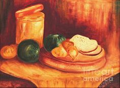 Still-Life with Tin, Bread and Onions, by Caroline Street. Oil on canvas. Prints and original art for sale.