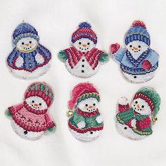 Snowmen Ornaments Set - Cross Stitch, Needlepoint, Stitchery, and Embroidery Kits, Projects, and Needlecraft Tools   Stitchery