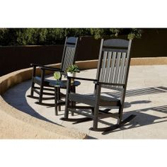 Ivy Terrace Classics Black Patio Rocker Set - The Home Depot Patio Rocking Chairs, Outdoor Chairs, Outdoor Decor, Outdoor Spaces, Outdoor Living, Front Porch Furniture, Plastic Lumber, Round Side Table, Terrace