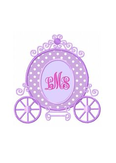 Applique Machine Embroidery DESIGN NO. 14.....Princess Carriage Monogram by HippityHopEmbroidery on Etsy
