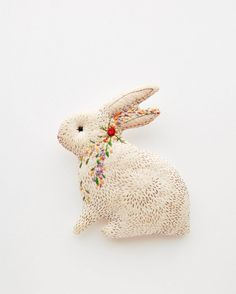 """""""blooming bunny"""" by Kate of Woodland Tale. Felt Fabric, Fabric Dolls, Fabric Art, Fabric Crafts, Sewing Crafts, Embroidery Designs, Hand Embroidery, Diy Craft Projects, Sewing Projects"""