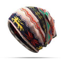 High-quality Womens Cotton Print Stripe Casual Bonnet Cap Comfortable Neck Scarves Multi-function Towel Hat - NewChic Mobile
