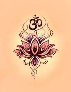 Om rising from lotus. The lotus is also a symbol for the centers of consciousness (chakras) in the body.