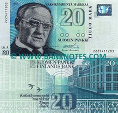 Finland - 20 Markka - 1993 - There is a man on it who looks very serious. There is bright blues and greens. There are also bird on it and buildings.