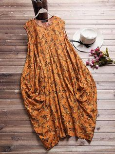 a8aca649d34b8 Cheap best O-NEWE Printed Baggy Pockets Sleeveless Summer Dresses on Newchic