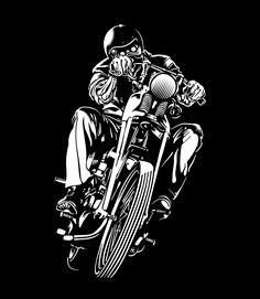 "eatsleepdraw: "" Night Rider Digital Illustration by Jordan Leal "" Motorcycle Posters, Motorcycle Art, Bike Art, Bike Illustration, Digital Illustration, Harley Tattoos, Motorcycle Wallpaper, Stock Foto, Skull Art"