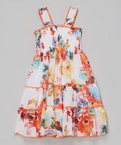 White & Orange Floral Dress - Toddler & Girls