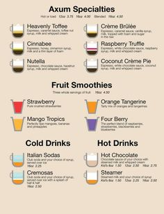 For coffee dummies like me, I'd like a hand-held menu similar to this that has cute illustrations of what is in each type of drink. It's helpful :)