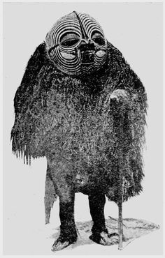 Africa, Congo, Songye sorcerer with a kifwebe mask. I can incorporate this design to the costume of the shaman that leads his character to the path enlightenment, discovering his Personal Legend. African Image, African Art, Tribal African, Dark Fantasy, Art Tribal, Art Premier, Art Africain, African Masks, Primitives