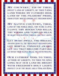 Free Printable: My Country 'Tis of Thee