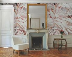 Thomas Darnell : Peonies close up install Thomas Darnell, Toile Wallpaper, Flower Wallpaper, Mural Wall Art, Luxury Decor, Wall Treatments, Peonies, Design Inspiration, Fitness Inspiration