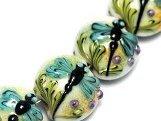 Glass Lampwork Bead Set - Four Blue Dragonfly Lentil Beads 10504612 by gracebeads on Etsy https://www.etsy.com/listing/95295200/glass-lampwork-bead-set-four-blue