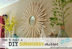 love this idea - How to make a DIY sunburst mirror (for less than $5.00)