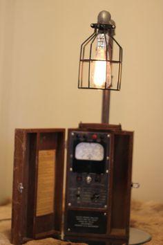 Lamp Repurposed Voltage Meter Desk or Table Lamp by Hawkridge14, $295.00