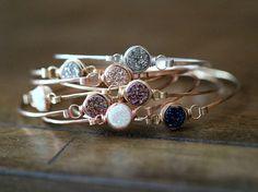 Druzy Stacking Bracelets  Bezel Gemstone Bangle by SaressaDesigns, very pretty and sparkly jewelry