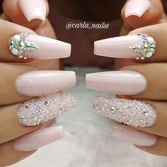 "3,229 Likes, 10 Comments - NAIL INSPO (@theglitternail) on Instagram: ""✨ REPOST - - • - - Soft pink coffin nails with crystals ✨✨✨ - - • - - Picture and Nail Design by…"""