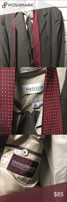 Two piece, plus shirt and tie pinstripe suite 44R Men pinstripe Suite. The jacket is about a 44 regular, pants a 36. I am about 6' and weigh 190, fits just right, w/ a little room available. $85  2 piece suite-Stonesreer 1 dress shirt- Vanhusen 1 tie Aa Studio Suits & Blazers Suits