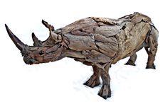 2 meter Black Rhino sculpture by Tony Fredriksson