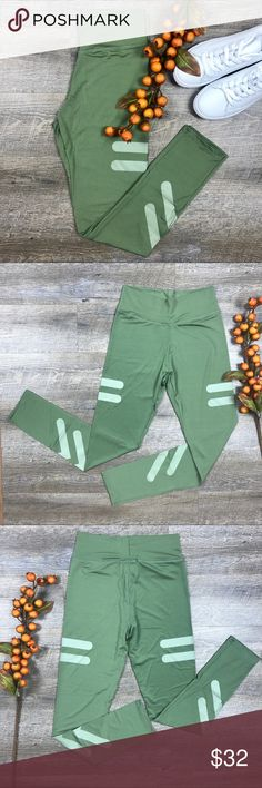 "Green Fitness Leggings Awesome green athletic leggings! Great for the gym or out for brunch! Cotton, polyester. Measurements: S/ length-34.3"", M/ length -34.6"". C-17 Pants Leggings"