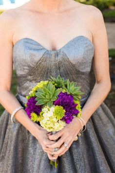 Sparkly grey bridesmaid dress with bright purple bouquet | Caroline & Evan Photography