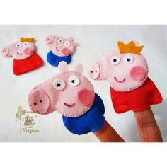 Olha eles ai... Peppa Pig e George Pig... Dedoches para as crianças. #peppa #peppapig #dedoche #lembrancinhas #felt #feltro #craftfelt #hand...