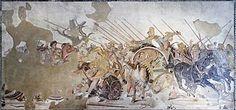 Battaglia di Gaugamela/Isso/Granico - fine IV sec. a.C. - (probabilmente) copia romana di una pittura greca - mosaico - dalla casa del fauno, Pompei - Museo archeologico nazionale di Napoli.