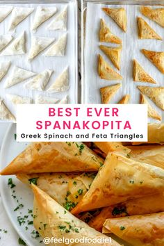 Made with just a few simple ingredients, these delicious spinach and feta spanakopita triangles are a fun appetizer recipe to make at home. Best Appetizers, Appetizer Recipes, Snack Recipes, Greek Recipes, Yummy Recipes, Yummy Snacks, Yummy Food, Spanakopita Recipe, Vegetarian Snacks