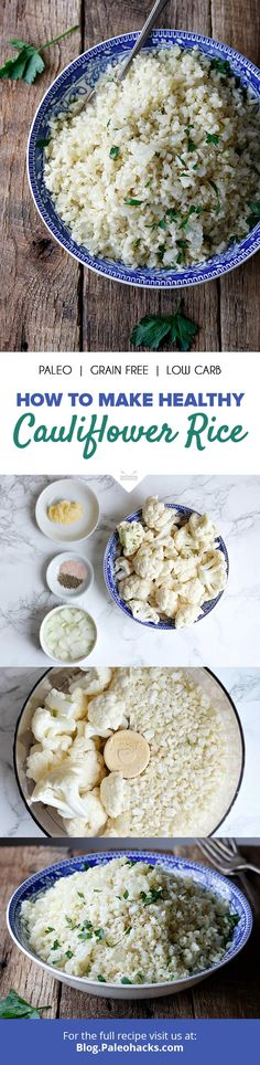 """In this quick and easy recipe, ingredients are kept simple for a cauliflower """"rice"""" that blends seamlessly with any of your favorite sauces and spices. Get the full recipe here: http://paleo.co/caulirice"""