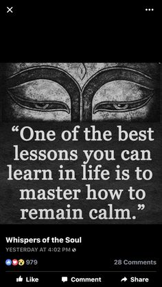 Maintaining calm and peace is one of most important parts in learning how to master discipline of mind, thoughts flow and discipline of emotional presence of Self, one of most difficult, especially when life becomes more demanding and you feel overwhelmed with everything that is going on, with everything you sense etc.