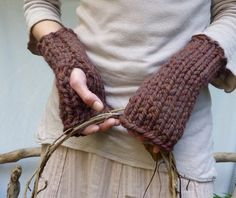 Naturalist Warmers, hand knitted in chunky wine brown wool mix yarn