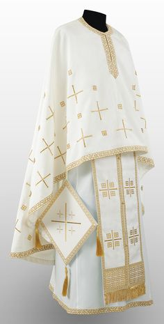 The treasury of this mediaeval monastery in the Serbian province of Kosovo and Metohija contains a unique pair of liturgical cuffs which serve as the inspiration for this set of vestments. DECHANI is available in navy blue, white and purple acetate. Early Christian, Gold Embroidery, Body Types, Ready To Wear, Silk, Purple, Unique, How To Wear, Body Shapes