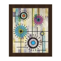 "Click Wall Art Flower Wires on Violet Framed Graphic Art on Canvas Frame Color: Espresso, Size: 14"" H x 11"" W x 1"" D"